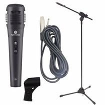 Microfone Profissional Karaoke + Pedestal Ibox + Cabo