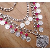 Collar Con Monedas Y Cristales - X Menor Y Mayor