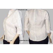 Guayabera Camisa 3/4 100%lino Para Dama