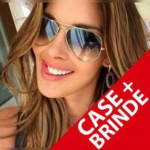 Óculos De Sol Feminino Aviador Azul Degrade Dourado Verão