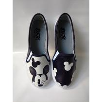 Zapato Dama Bolichero Mickey Calzado Tennis Envío Gratis