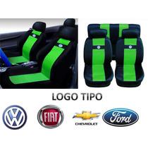 Jogo Capas De Banco Em Nylon Verde Com Logo Vw Gol Fox Polo