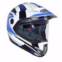 Capacete Yohe Trail Sport - Cross C/viseira Branco E Azul