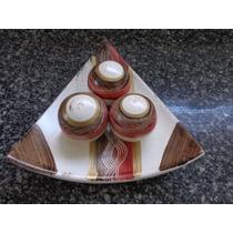 Prato Decorativo De Cerâmica Com 3 Bola Linda Peça Decoração