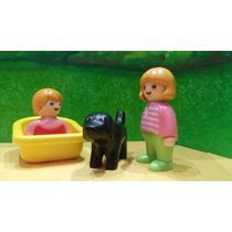 Playmobil 1 2 3 Niña Y Bebe Con Perro Negro Ciudad Js