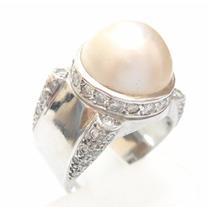 47 Diamantes E Pérola Mabe Estupendo Anel Em Ouro 18k 750