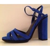 Zapatos Zara Tacon Alto Afelpados!! Color Azul!!!