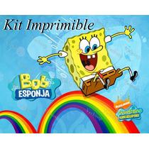 Kit Imprimible Bob Esponja Invitaciones Tarjetas Frames Mx