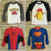 Polos Para Niños Pokemon, Batman, Superman, Etc.
