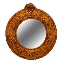 Espelho Redondo De Cristal Moldura Design Classico