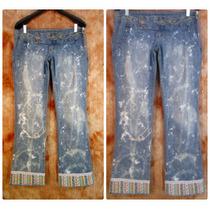 Calça Jeans 42 44 Cintura Baixa Customizada Lycra Detonada