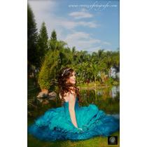 Vestido Xv Azul Jade + Ramo+ Falda Corta+ Cojín Envío Gratis