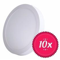 10 Painel Plafon Luminaria Sobrepor Teto Led Redondo 18w