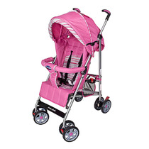 Carrinho Bebê Berço Umbrella Premium Rosa Listra Prime Baby