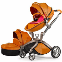 Carrinho Bebe Hot Mom Stroller 2016 3 In 1 C/ Moises Marrom
