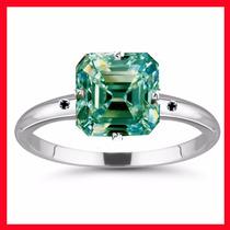 Anel Solitário Diamante Moissanite+2diamante Natural Prata