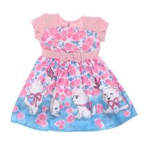 Vestido Infantil Feminino Gatinho Turma Da Malha - Domanikid