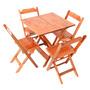 Conjunto Mesa 80x80 C 4 Cadeiras Dobrável Madeira Natural