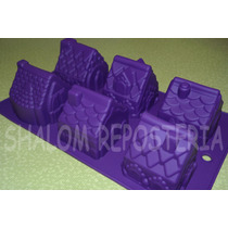 *molde Silicon 6 Casas Casita Villa Fondant Pastel Chocolate