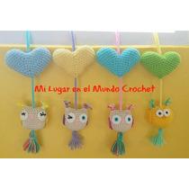 Colgante Buho + Corazon - Tejido Al Crochet - Palermo