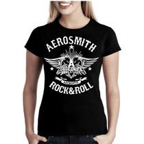 Camiseta Bandas Rock Aerosmith Baby Look Feminina