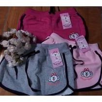 Kit Com 3 Shorts Lilika Infantil Moleton Peças Varias Cores