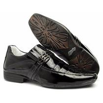 Sapato Social Couro Verniz Alto Brilho Solado Personalizado