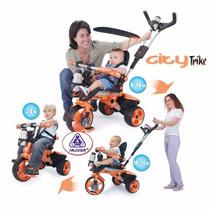 Triciclo Carreola Montable Con Techo City Trike Naranja