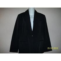Saco D Vestir P/dama M-34 Negro C/raya D Gis Blanca Forrado