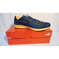 Tenis Puma Burst Runner Azul Marino/naranja Num 9 Comodos