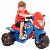 Ban Moto Cross Elétrica Infantil Menino Azul Bandeirante