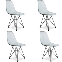 Cadeira Charles Eames Eiffel Policarbonato Transparente X 4