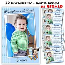 Mickey Bebé 20 Invitaciones De Cumpleaños Y Cartel De Regalo