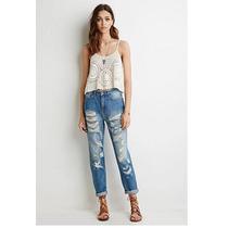 Forever 21 Jeans Boyfriend Tiro Alto Rotos Talla 29