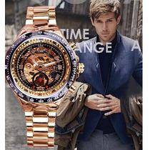 Relógio Masculino Mecanico Original Dourado Barato Importado