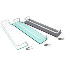 Porta Shampoo Reto Com Grade Em Aluminio Vidro 8mm - Fume