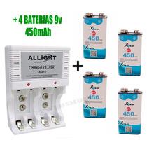 Kit Carregador Pilha Aaa Aa 9v + 4 Baterias 9v 450mah Knup