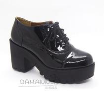 Sapato Oxford Tratorado Preto Verniz + Sandália Tratorada