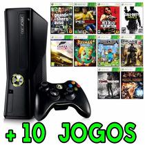 Xbox 360 Slim 4gb + 10 Jogos + Joga Na Live + Envio Rápido