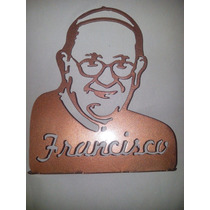 Adorno Papa Francisco / Cura Brochero Metálico Pint Con Base