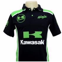 Camiseta Camisas Masculina Gola Polo Esportiva Moto Kawasaki