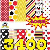 Kit Scrapbook Digital Papéis Mickey Minnie 3400 Imagens Clip