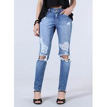 Calça Jeans Boyfriend Com Destroyed Feminina Denuncia