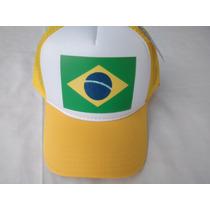 Boné Brasil Olimpiadas Bandeira Futebol Tela Trucker