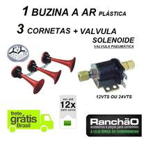 Kit Buzina Ar 3 Cornetas + Valvula Solenoide Caminhão Onibus