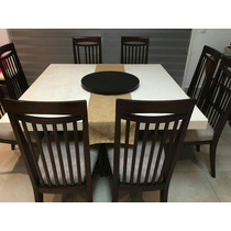 Comedor Con Base De Madera Fina Color Chocolate Con Sillas.