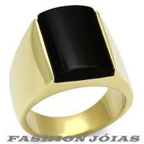 Anel Masculino Folheado A Ouro 18k Agata Onix Natural Luxo