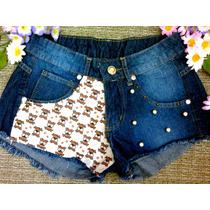 Shorts Feminino Jeans Customizado Cintura Alta