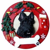 Adorno Navideño Circular Scottish Terrier - Ceramica - Hermo