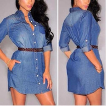 Camisão Vestido Mini Vest Jeans Feminino 2016